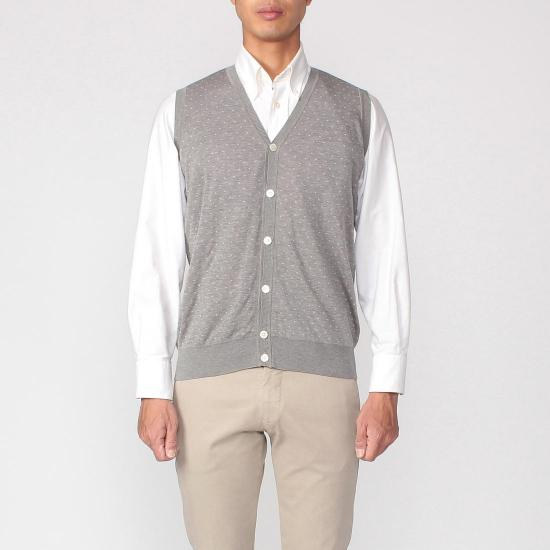 Cotton Dot V-neck Sweater Vest 1157633: Grey