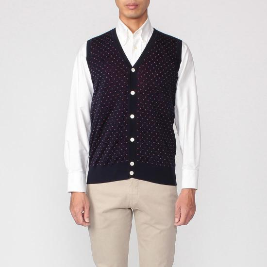 Cotton Dot V-neck Sweater Vest 1157633: Navy