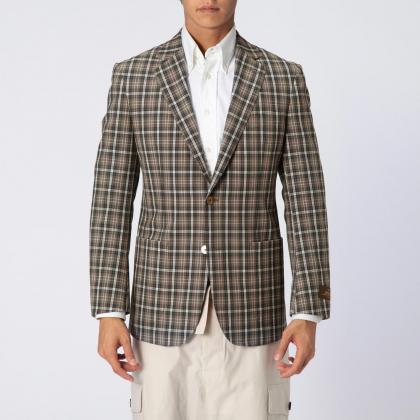 Manhattan Jacket Blended Wool Plaid 1159899: Beige
