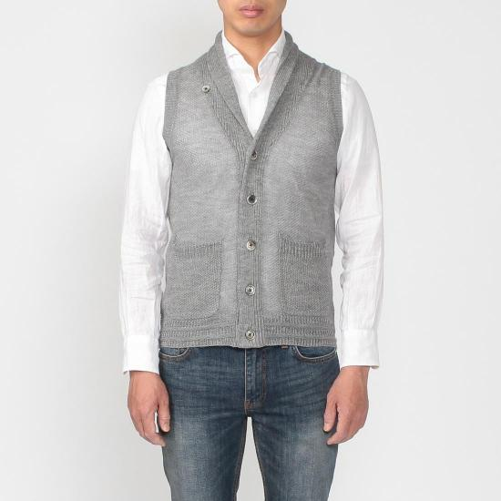 Linen Shawl Collar Sweater Vest 1160404: Light Grey