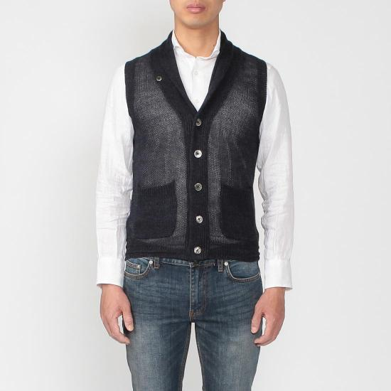 Linen Shawl Collar Sweater Vest 1160404: Navy