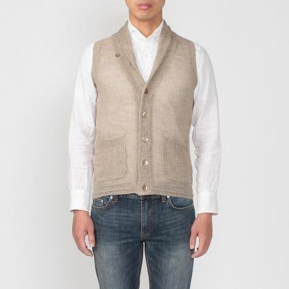 Linen Shawl Collar Sweater Vest 1160404: Beige