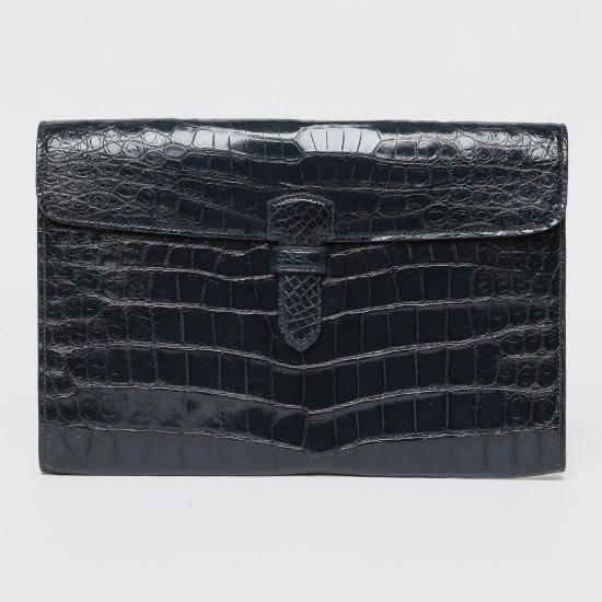 Alfredo Beretta Crocodile Clutch Bag 1171593: Navy