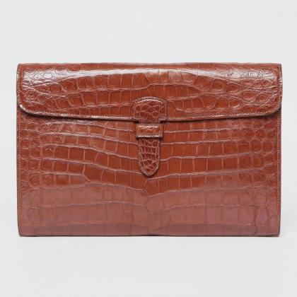 Alfredo Beretta Crocodile Clutch Bag 1171593: Brown