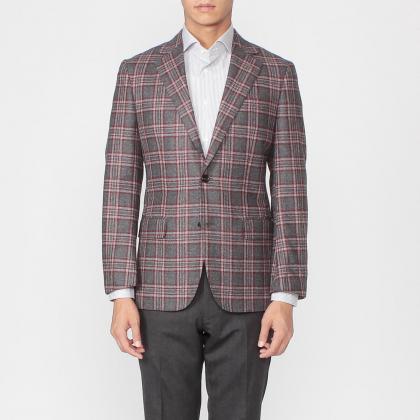 Manhattan Jacket Wool Plaid 1171617: Grey