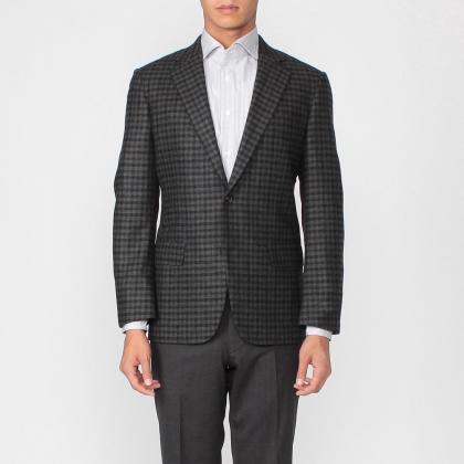 Manhattan Jacket Blended Wool Cashmere Shepherds' Plaid 1171621: Green