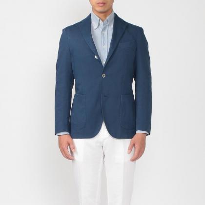 Boglioli Cotton Jersey Jacket: Navy
