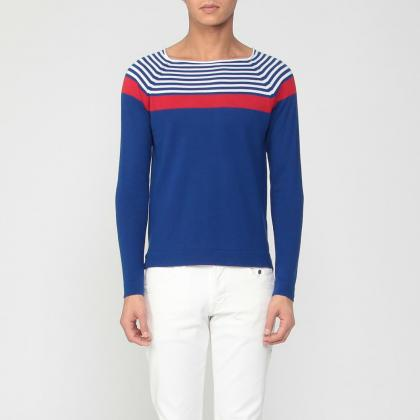 Stripe Cotton Crewneck Sweater 1181813: Blue