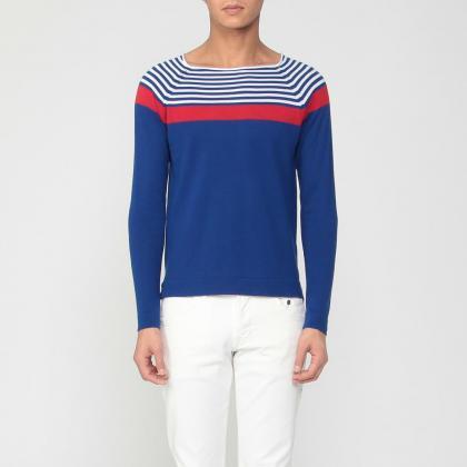 Stripe Cotton Crewneck Sweater 1181813: Blue