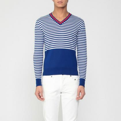 Stripe Cotton V-neck Sweater 1181814: Blue