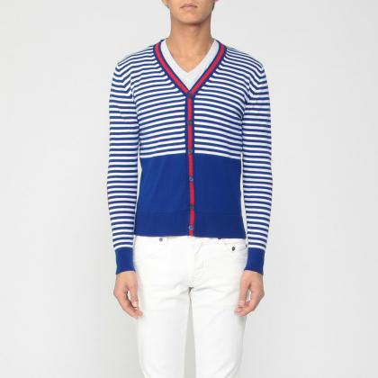 Stripe Cotton V-neck Cardigan 1181815: Blue