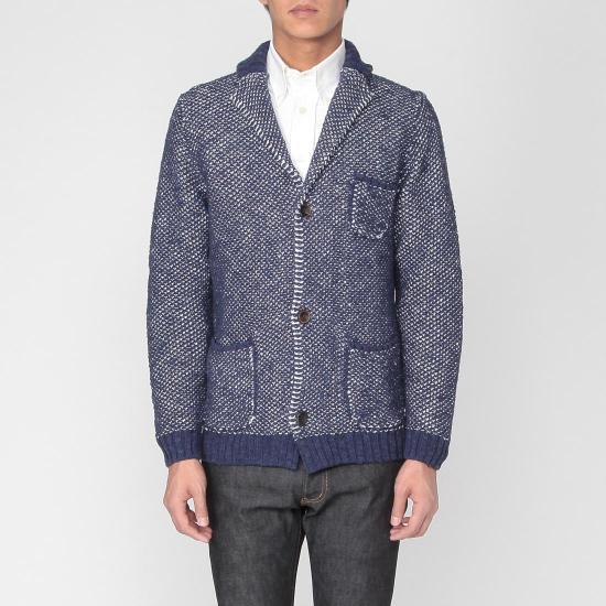 Cotton Linen Knit Jacket 1183377: Navy