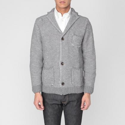 Cotton Linen Knit Jacket 1183377: Grey