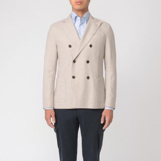 Eleventy Wool Flannel Double Breasted Jacket: Beige