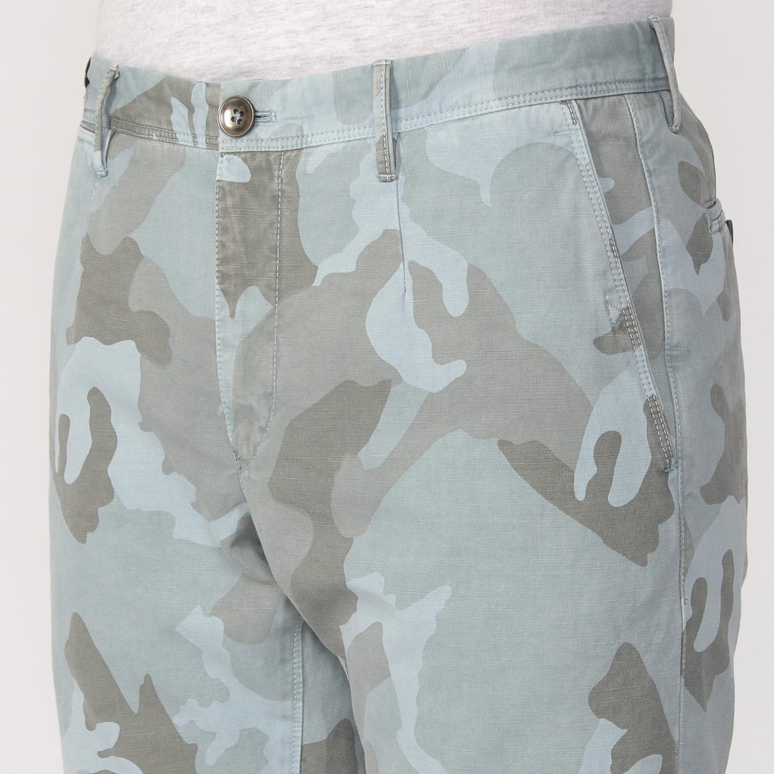 Darwin Cotton Linen Camouflage: Blue