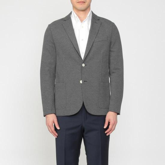 Blended Cotton Jersey 2-button Jacket 1212947: Grey