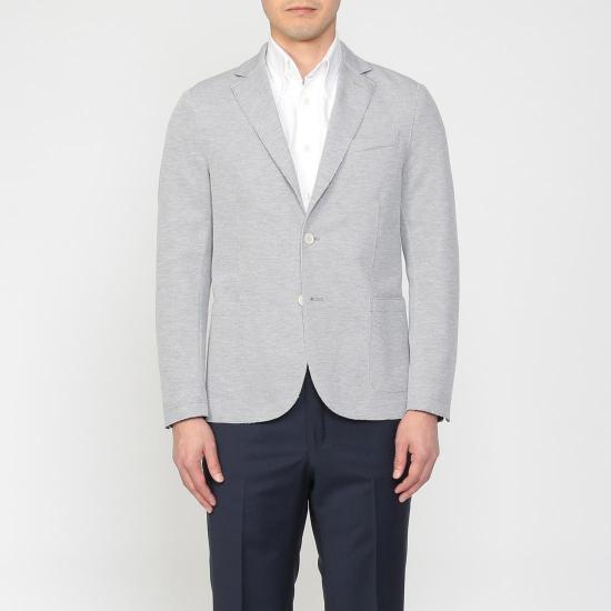 Blended Cotton Jersey 2-button Jacket 1212947: Light Grey