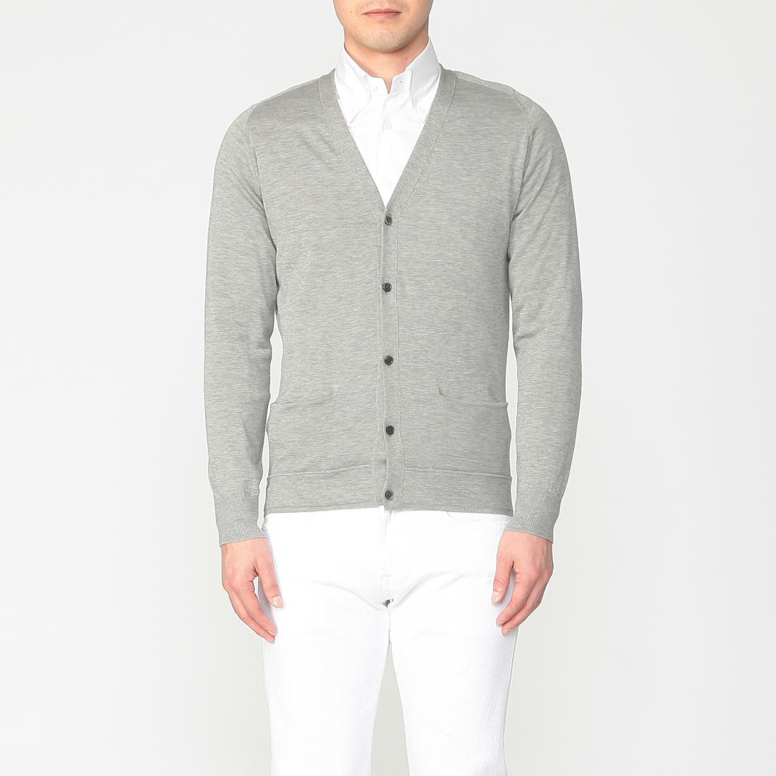 Cotton Silk Cardigan 1214448: Grey