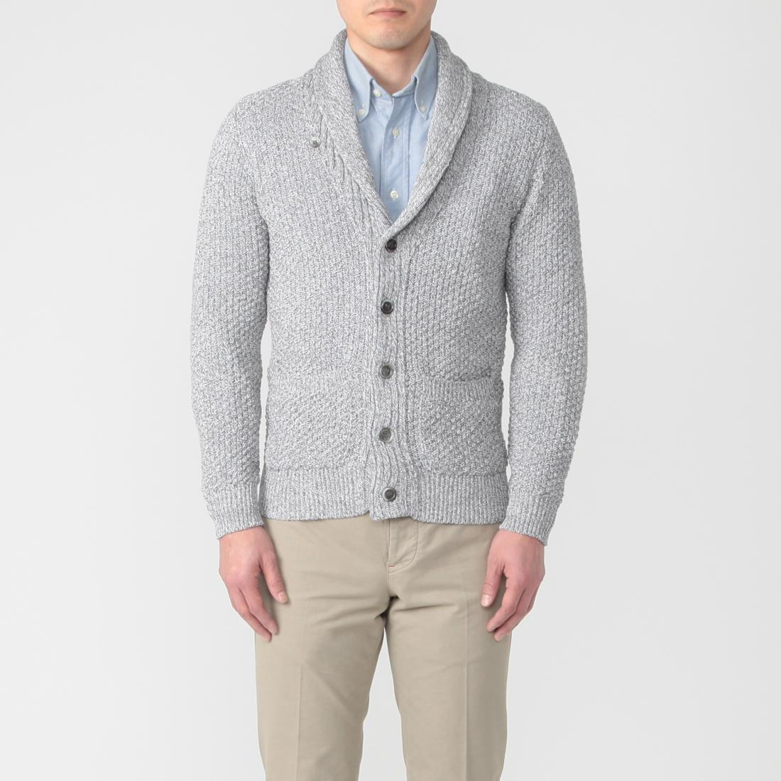 Cotton Shawl Collar Cardigan 1217046: Grey
