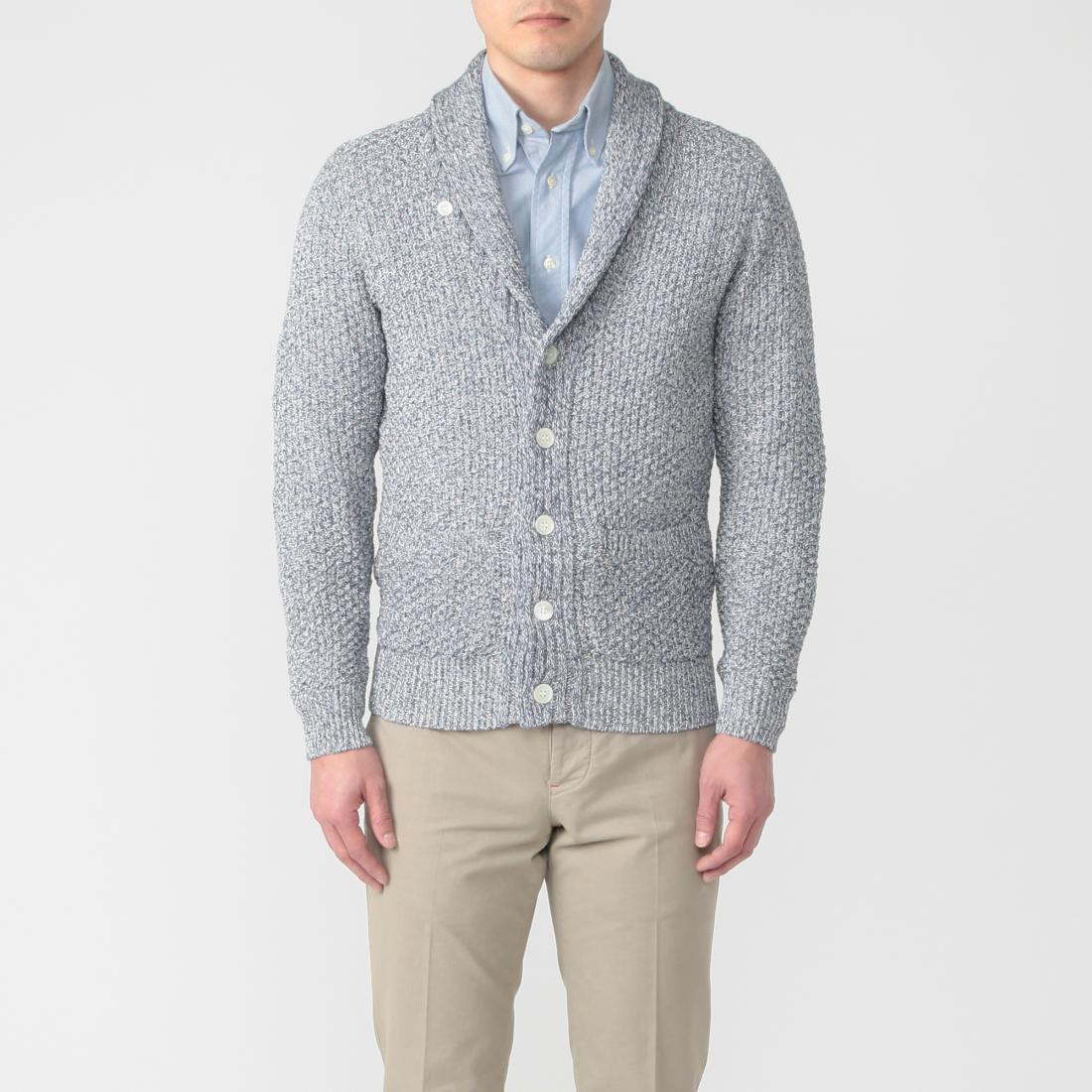Cotton Shawl Collar Cardigan 1217046: Navy