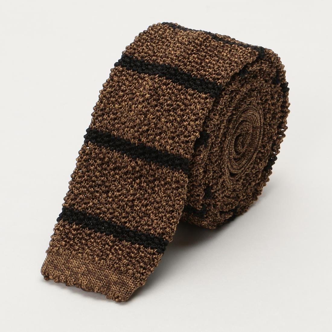 Barneys New York Silk Stripe Knit Tie 1222738: Brown