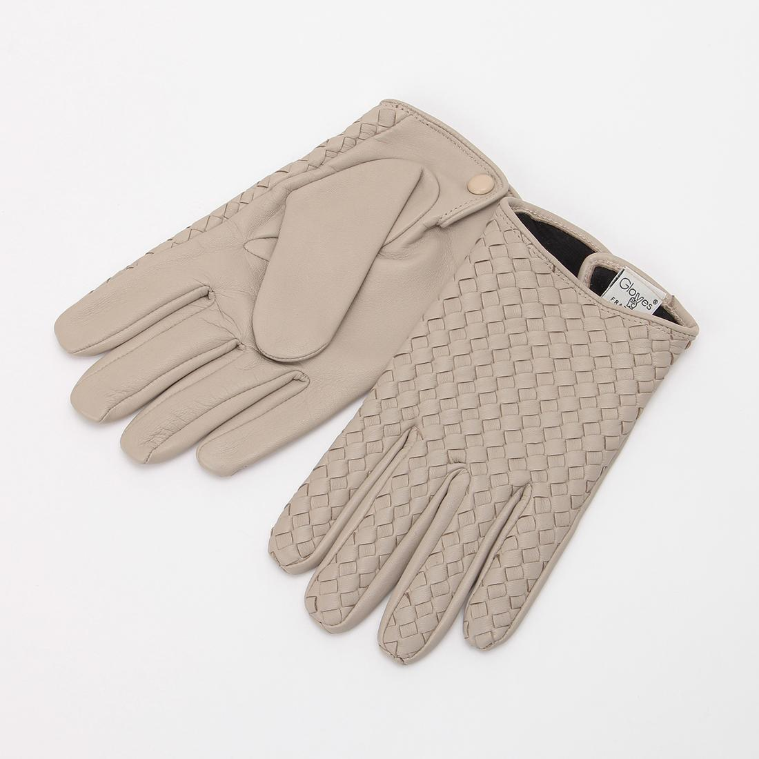 Lambskin Silk Lined Woven Gloves: Beige