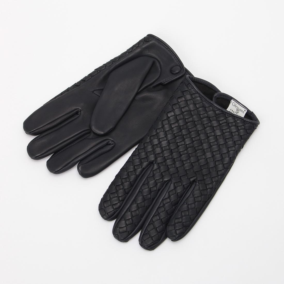 Lambskin Silk Lined Woven Gloves: Navy