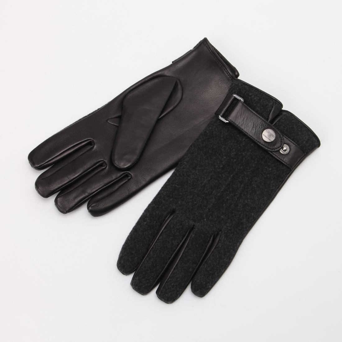 Lambskin Blended Wool Gloves: Black