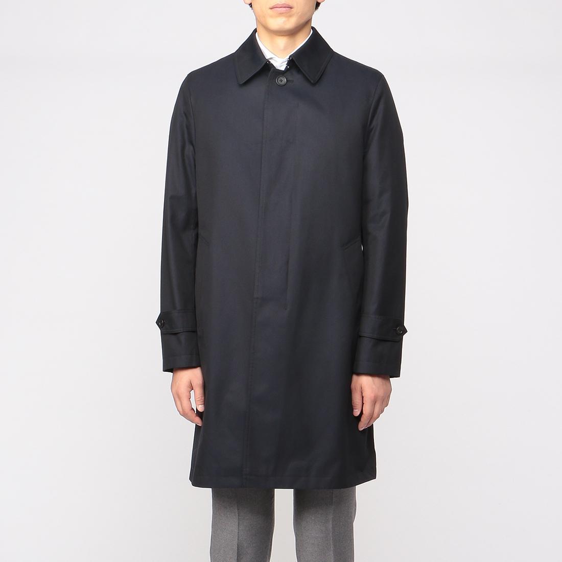 Cotton Gabardine Balmacaan Coat 1225078: Navy