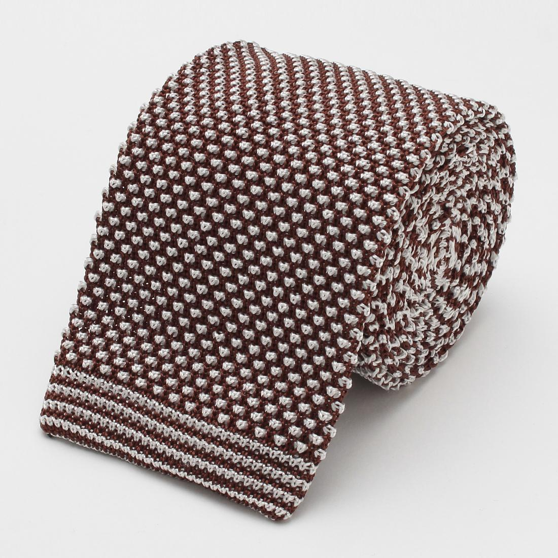 Barneys New York Silk Pattern Knit Tie 2004632: Brown