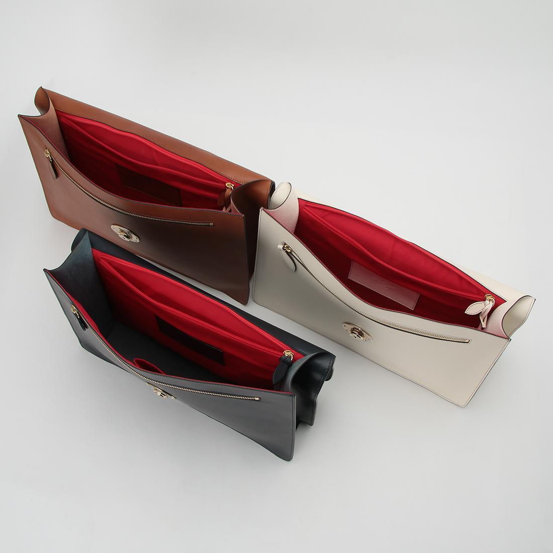 Boldrini Selleria Structured Briefcase: Light Brown, Navy, White