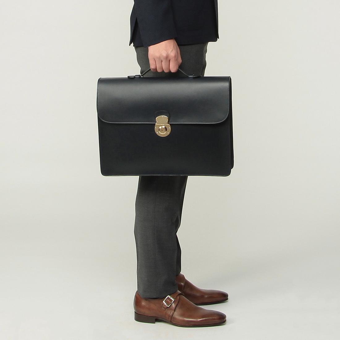 Boldrini Selleria Structured Briefcase: Navy