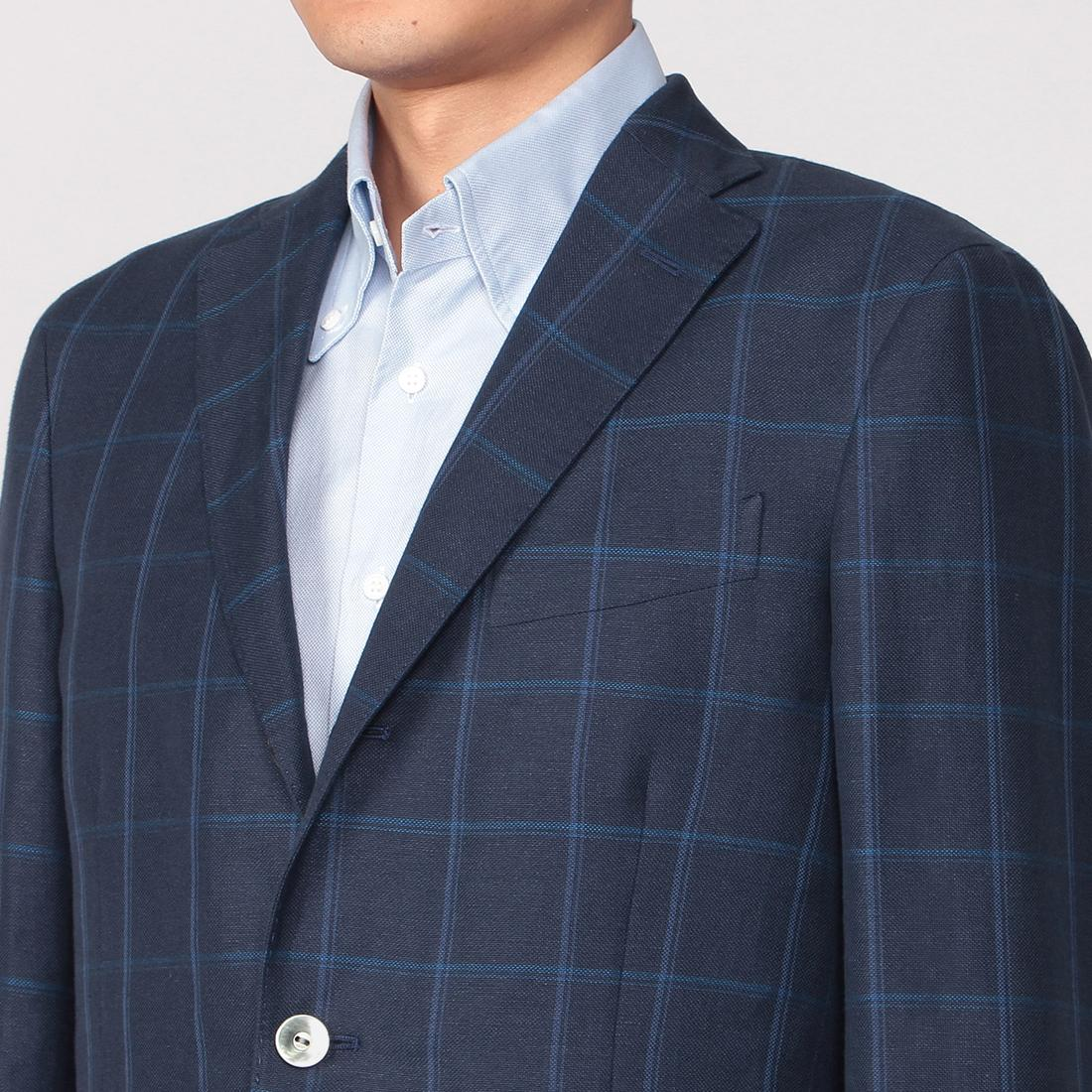 Dover Linen Cotton Windowpane: Navy