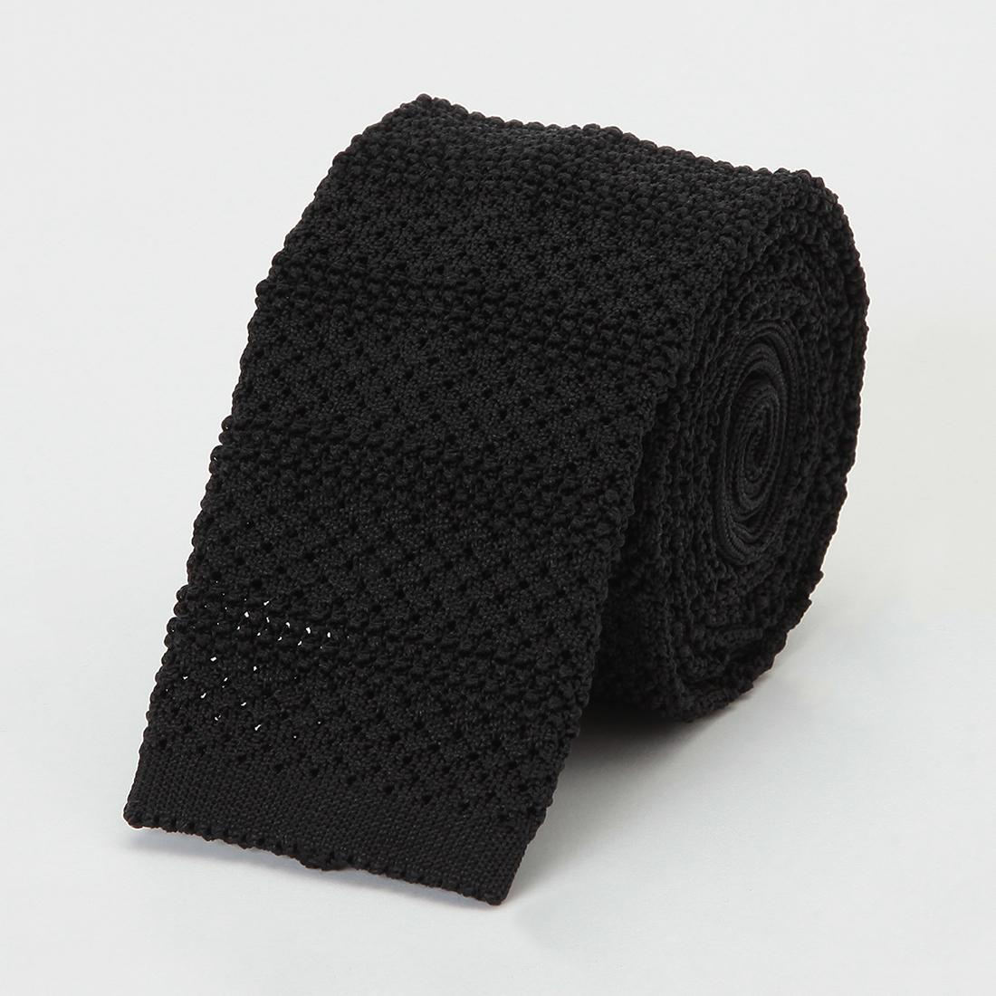Barneys New York Silk Stripe Knit Tie 2011117: Black
