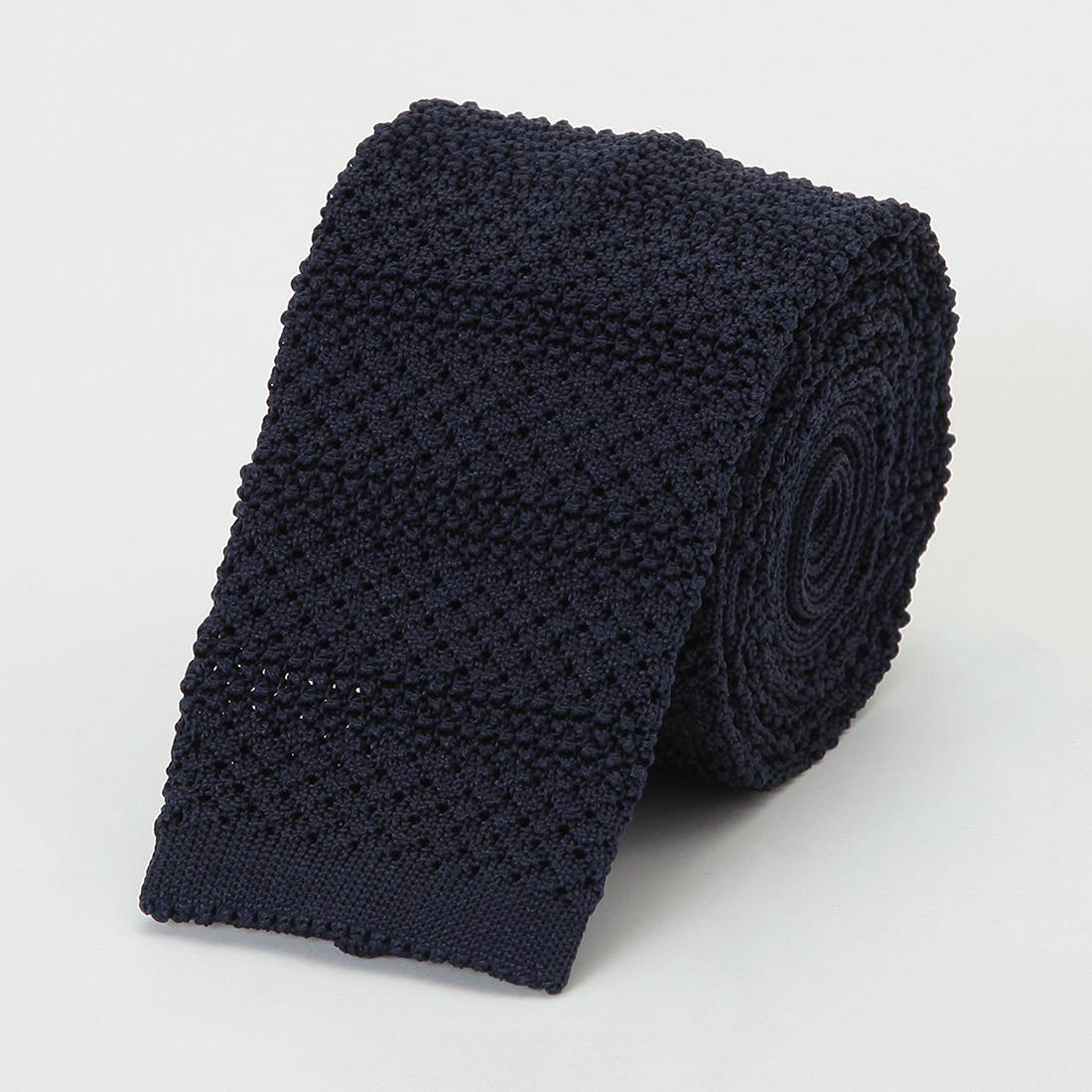 Barneys New York Silk Stripe Knit Tie 2011117: Navy