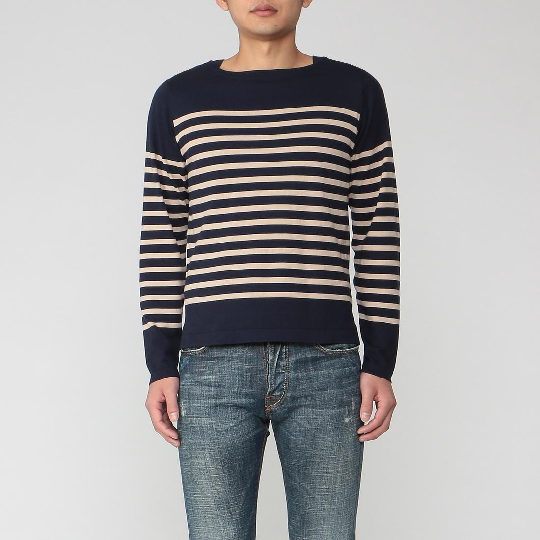 Barneys New York Cotton Stripe Boatneck Sweater 2014666: Navy