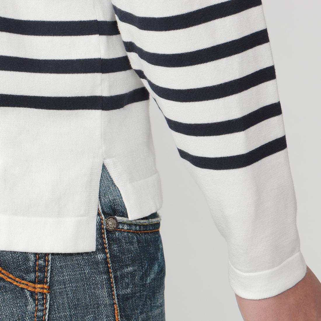 Barneys New York Cotton Stripe Boatneck Sweater 2014666: White