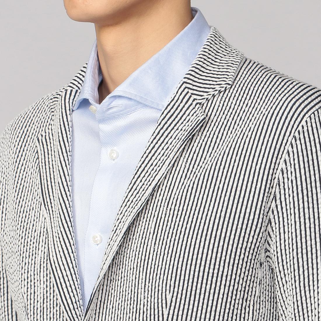 Seersucker Jersey Jacket 2014958: Navy