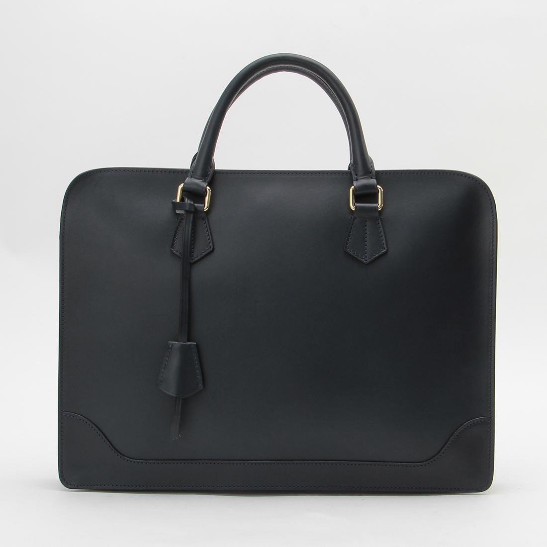 Boldrini Selleria Leather Briefcase: Navy